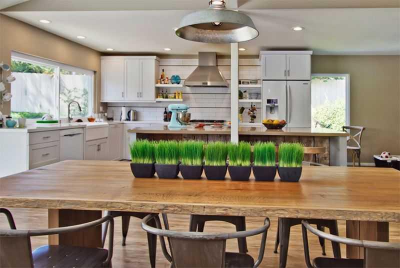 Bạn đừng quên màu xanh của cây cối luôn mang một sức sống tươi mới cho những mẫu nội thất phòng bếp