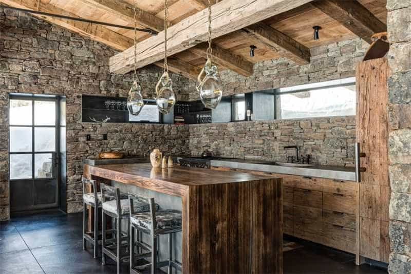 Những mẫu nội thất phòng bếp đẹp có sự tham giá của đá khá hiếm hoi vì cách phối hợp màu sắc không đơn giản